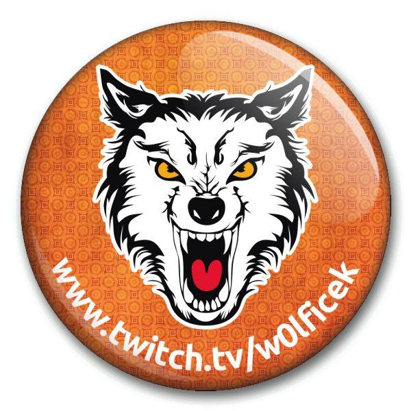 W0lfíček - oranžová placka s adresou